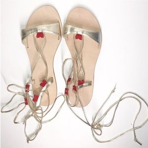 Cornetti Gold Metallic Red Hearts Lace-Up Sandals